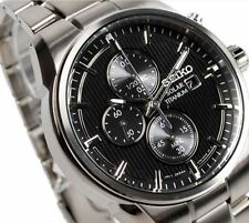 Seiko Men's Solar Titanium Chronograph Watch SSC367P1 Warranty, Box