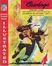 1962 Dallas Cowboys v Pittsburgh Steelers Program 9/23 Cotton Bowl Ex 32416