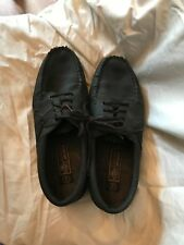 Mens Rugged Outback Black Leather Moc Shoes Size 9