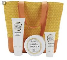 Perlier White Honey 3-Piece Set With Woven Tote