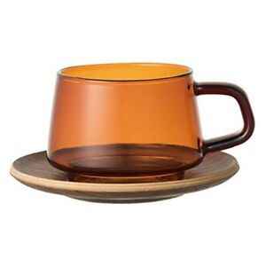 KINTO SEPIA Cup & Saucer 270ml Amber from JAPAN