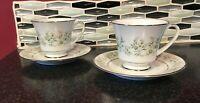 Vintage Noritake Savannah Set Of 2 Footed Tea Cup And Saucer Set- Japan- Floral