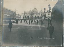 Italie, Venise, Place St-Marc et la basilique, ca.1910, vintage silver print Vin