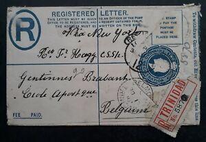 RARE 1911 Trinidad Registd 2d Stamped Cover cancelled Belmont to Belgium