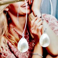 Women 925 Silver Ear  Jewelry hook Pearl Long Drop Dangle Earrings Gift Jewelly