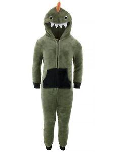 Only Boys Green Dinosaur Fleece Hooded One-Piece Pajamas