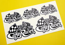 CAFE RACER Chequered Flag UNION JACK logo tank & Helmet set stickers