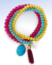PANACEA Set of 3 Vibrant Beaded Stretch Bracelets with Tassel & Stone Charms