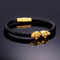 """Mens Black Leather Braid Rope 8.5"""" Magnetic Gold Stainless Steel Skull Bracelet"""