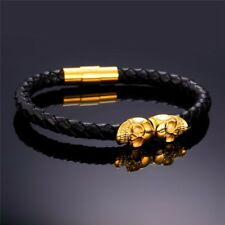 "Mens Black Leather Braid Rope 8.5"" Magnetic Gold Stainless Steel Skull Bracelet"