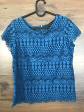 Forever New Peacock Blue Lace top size 8