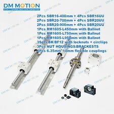 3pcs ballscrews ballscrew + 3 set SBR rails +3sets BK/BF12+3pc couplings