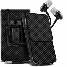 Vertical Carbon Fibre Belt Holster Case & Handsfree For Wileyfox Swift 4G