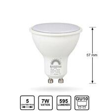 Pack 10 Lamparas Dicroica Bombillas LED 7W Ojo de buey GU10 595Lm 50mm Ø
