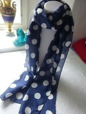 Elegant, fine silk scarf in navy blue,decorated with fresh white spots