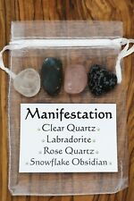 Manifestation Crystal Gift Set Clear Rose Quartz Labradorite Snowflake Obsidian