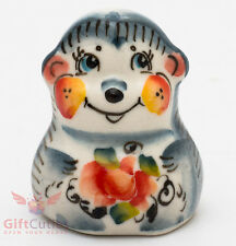 Russian Gzhel porcelain Hedgehog figurine handmade