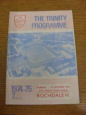 13/10/1974 programma Rugby League: Wakefield Trinity V ROCHDALE HORNETS (piegato