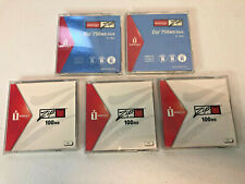 Lot of 5 Disks Opened Iomega Zip Disk 750MB and 100MB PC/MAC