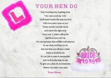 HEN PARTY / BRIDE TO BE .......Keepsake Gift...A4 poem - WRITTEN BY SELLER