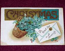 1910 Vintage Postcard A Christmas Greeting in Sincerity Flowers Embossed