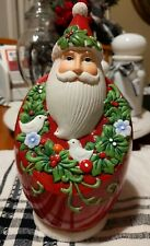 Santa With Two Turtle Doves Wreath Ceramic Figurine Christmas