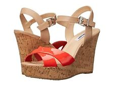 NEW DUNE LONDON RED BEIGE WEDGE PLATFORM SANDALS SIZE 8 39 $110