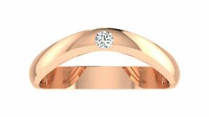 Natural 0.07 Ct. Diamond Engagement Ring 14K Solid Rose Gold Wedding Men's Band