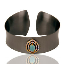 Aqua Chalcedony Cubic Zirconia Black Oxidized Cuff Bangle Jewelry
