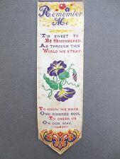 Antique BOOKMARK Woven Silk Stevengraph T Stevens Coventry Remember Me Verse
