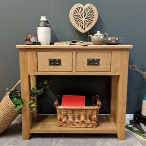 Oak Console Table / Solid Wood  Hall / Telephone Table / Grange Light Oak Grange