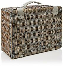Yellowstone Wicker Picnic Basket With Cooler Compartment 4 Person Cutlery Glass