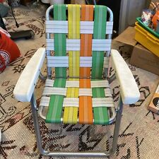 Vintage Aluminum Folding Lawn Chair Retro Yellow Green Orange Child Kid Size Dur