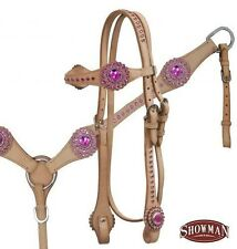 LIGHT OIL Bridle, Breastcollar and Reins Set w/ PINK Rhinestones! NEW HORSE TACK
