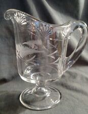 EAPG - McKee Brothers Yale Cream Pitcher with Engraved Leaves