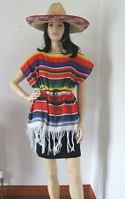 MEXICAN PONCHO womans fancy dress COSTUME PONCHO  & BELT ( hat not included )