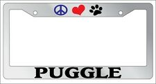 Chrome License Plate Frame Peace Love Paw Puggle Auto Accessory 534