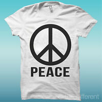 T-SHIRT UOMO SIMBOLO PACE PEACE AND LOVE IDEA REGALO ROAD TO HAPPINESS