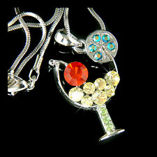 w Swarovski Crystal Juicy Red CHERRY ~MARGARITA GLASS Charm Pendant Necklace New