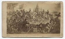 ANTIQUE CDV PHOTO OF ETCHING DEPICTING SPANISH CONQUISTADORS CLAIM THE AMERICAS