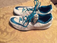 MEN'S-NIKE HYPERFUSE ZOOM-LOW TOP-BASKETBALL SHOES-SIZE 16.5 WHITE-TEAL