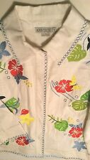 Ann Trinity Bright White Jeans Jacket Shirt Top Exotic Flower Embroidery Women S