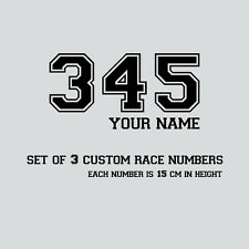 CUSTOM Race Numbers & Name x 3 Vinyl Motocross Stickers, Dirt Bike Trials Decals