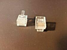 100 pcs RJ12 RJ11 6P6C Modular Plug DSL Clear Telephone Connector. Gold-Plated