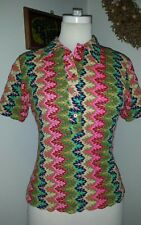 New listing ZigZag Psychedelic Vintage Blouse Top 100% Acrylic Short Sleeve Small Japan B 34