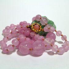 Damenkette Halskette Collier 65 cm Natursteinen Rosenquarz Kette Kastenverschluß