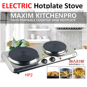 Portable Electric Stove Double Hot Plate Cooker RV Cooktop Bench Cooking Home