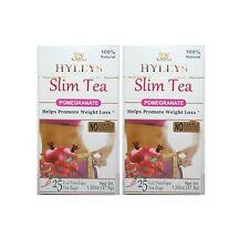 2 PACK of Hyleys Slim Tea Pomegranate Green Tea 100% Natural (25 tea bags each)