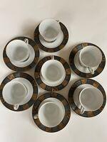 Vintage BRISTOL Fine China Circle of Gold Pattern 14 Pc Tea Coffee  Set Japan