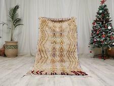 "Moroccan Beni Ouarain Handmade Carpet- 3'1""x5'9"" Bohemian Ivory White Wool Rug"